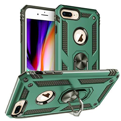 Custodia iPhone 8 Plus, Custodia iPhone 7 Plus,Cover iPhone 6 Plus, Silicone Armatura Antiurto Copertura Cassa Custodia Cover per iPhone 6 Plus/7 Plus/8 Plus (Verde Scuro)