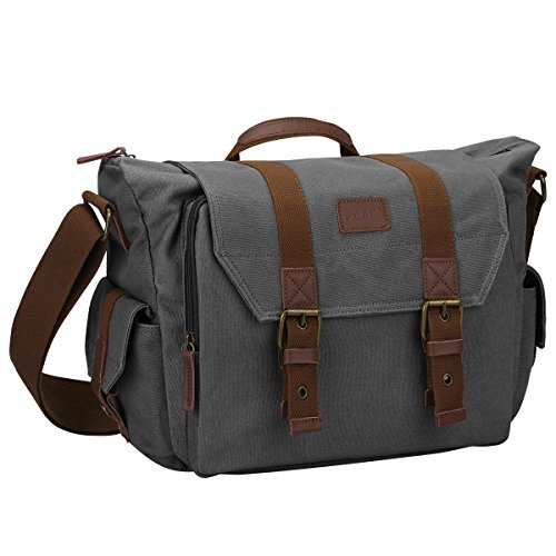 S-ZONE Canvas SLR DSLR Camera Shoulder Messenger Bag with Bottom Tripod Compatible with Cannon