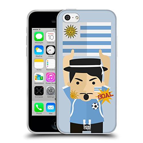 Head Case Designs Uruguay Fussball Enthusiast Soft Gel Handyhülle Hülle Huelle kompatibel mit Apple iPhone 5c