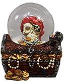 Pirate Treasure Chest Glitter Snow Globe, 4 Inches
