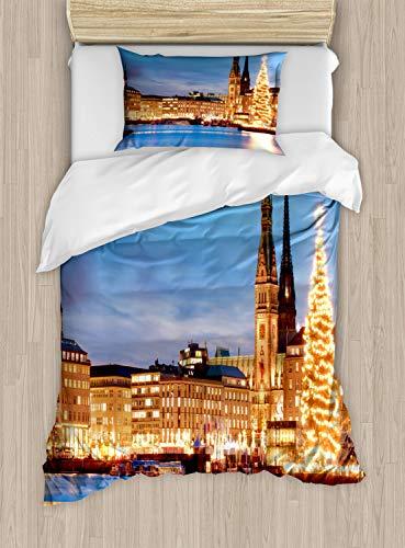 ABAKUHAUS Winter Dekbedovertrekset, Hamburg Duitsland Old Town, Decoratieve 2-delige Bedset met 1 siersloop, 130 cm x 200 cm, Blauw Oranje Bruin