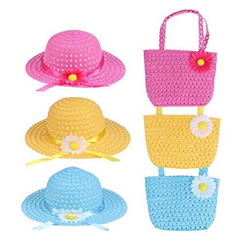 Toyvian 3 Satz von Mädchen Sonnenhut Strohhut mit Geldbörse Sommerhüte Beach Hut für Kinder(blau, gelb, rosa)