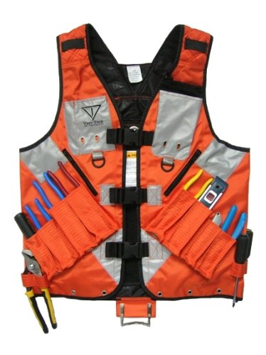 High Visibility Tool Vest with Built in Hydration Pouch Pocket - Electricians, Surveyors, Contruction (Orange) - (Large - XXX-Large)