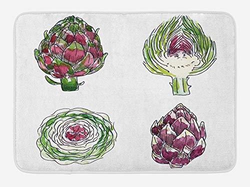 Alfombrilla de baño de alcachofa, verduras de varios ángulos, juego de acuarela de alimentos dietéticos para agricultura, alfombra de felpa decorativa para baño con respaldo antideslizante, magenta y