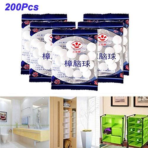 DUOCACL Protección contra polillas – 200 bolas antiinsectos, bolas naturales antipolillas, desodorante para inodoro y desodorante