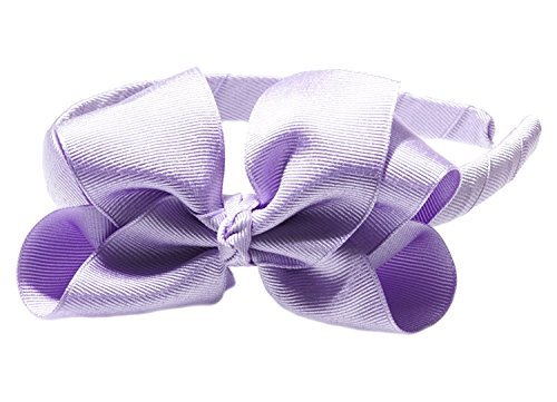 Anna Belen Girls'Lila' Grosgrain Bow Headband O/S Lavender