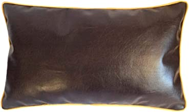 pillowerus Artificial Leather 12x20 Inch Brown Lumbar Kidney Pillow/Cushion Cover Homemade Stylish Modern Solid Decorative/Throw Bolster with Piping for Home, Office Couch, Sofa, Bedroom, Patio