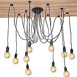 ViaGasaFamido Lámpara Colgante, 10 Cabezas Industrial Estilo Vintage Soporte de luz Colgante Lámpara de Techo Accesorios de suspensión