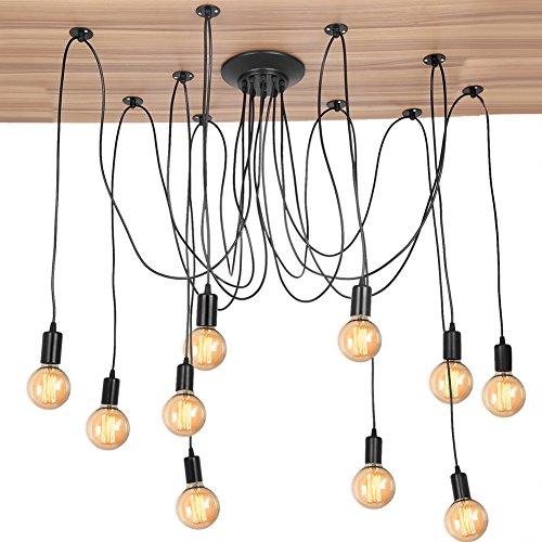 Cocoarm Spinne Kronleuchter DIY Decke Spider Lampe Retro Industry Ceiling Light DYI Vintage Pendelleuchte Speisesaal Schlafzimmer Hotel Dekoration (10 Kopf)