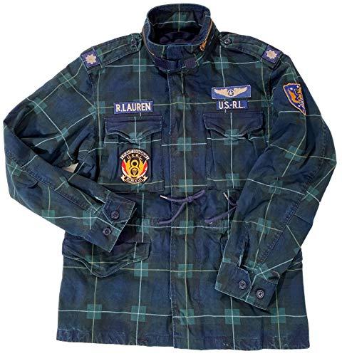 Men's Flight Squadron Blue/Green Plaid Patched Canvas Military Casual Jacket W/Hidden Liquid Silver Hood Medium (XL)