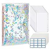 MoKo A6 Binder Notizbuch, 6 Löcher PVC Loseblatt Notizbuch mit Transparenten Pailletten Binder Notebook mit 12 Stück Binder Taschen 16 Etikettenaufklebern 12 Leere Papiere - Bunt