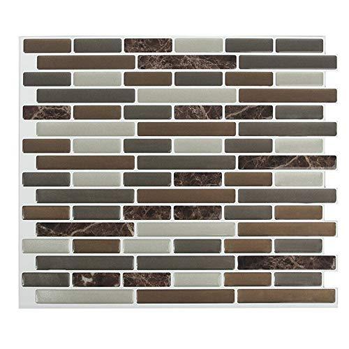 Fawyhr Peel and Stick Backsplash Pasillo autoadhesivo mezclado marrón marrón oblongo mosaico pared etiqueta etiqueta de la calcomanía DIY cocina baño decoración de casa vinilo (4pcs) Decoración hogare