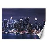 Feeby Fotomurales Manhattan De Noche Rascacielos 400x280 cm Azúl Tejido No Tejido Papel Tapiz Fotográfico Decorativos Murales Dormitorio Oficina Hotel Spa NYC Ee.Uu. Nueva York Ciudad