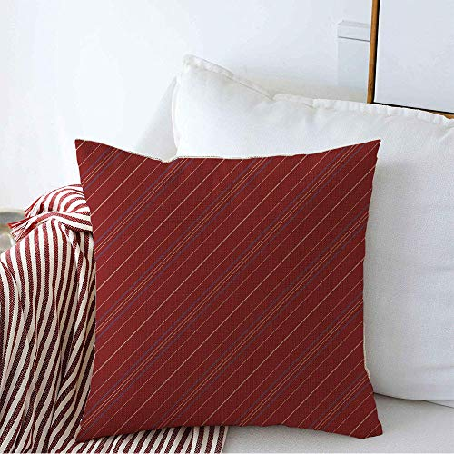 Decorative Throw Pillow Cover Artistic Dark Sarape Red Striped Abstract Summer Beauty Pattern Board Celebration Children Cinco Cozy Square Cushion Covers 16 x 16 Inches for Bench Bedding Car