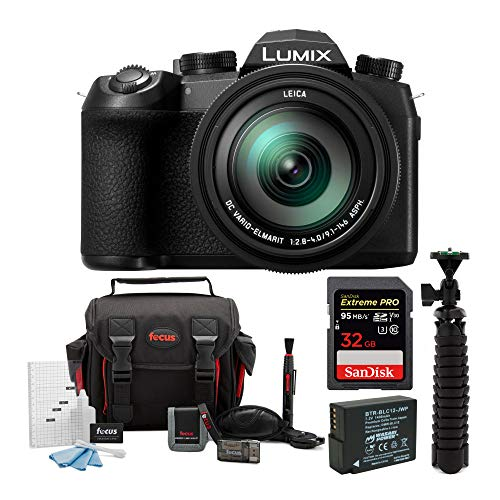 Panasonic LUMIX FZ1000 II 4K 16x Long Zoom Digital Camera Plus Sandisk Extreme PRO 32GB, Spider Tripod, Spare Battery, and Complete Accessory kit
