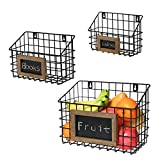 Matt Black Metal Wire Wall Hanging Storage Baskets with Chalkboard Labels, Set of 3, 3 different size
