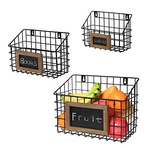 Matt Black Metal Wire Wall Hanging Storage Baskets with Chalkboard Labels Set of 3 3 different size