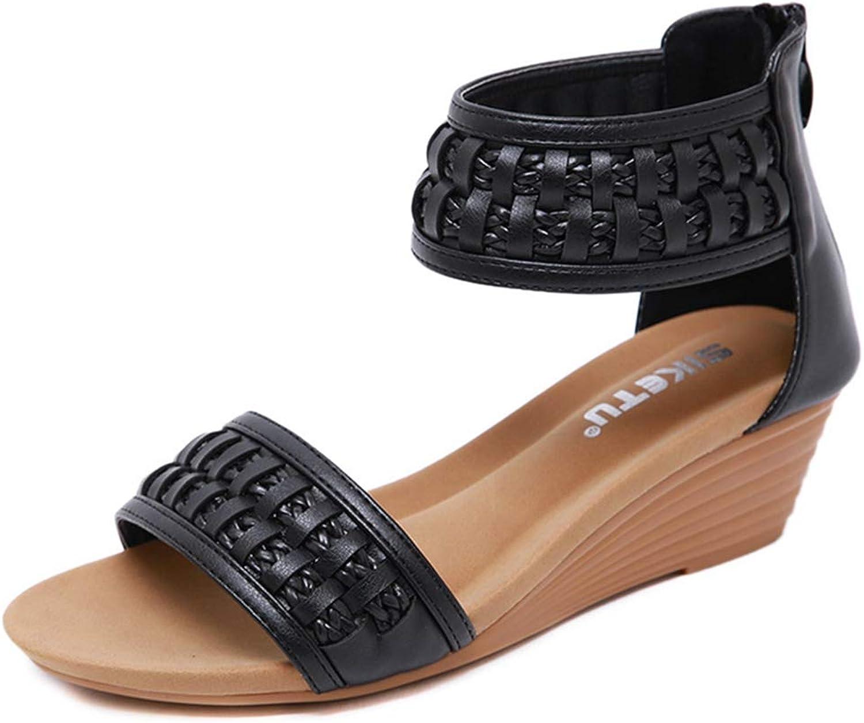 GIY Women's Platform Wedge Sandals Open Toe Back Zipper Ankle Strappy Low Heels Dress Sandals