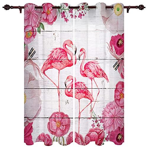 ASNIVI Niñas Curtains Flores Rosa Animales Flamenco 2 X 50 X 108 Inch Cortina Opaca Aisladas Térmicamente, Para Ventana Niños, Adolescentes, Cortinas De Ventana Para Recámara,Sala De Estar, Cortinas O