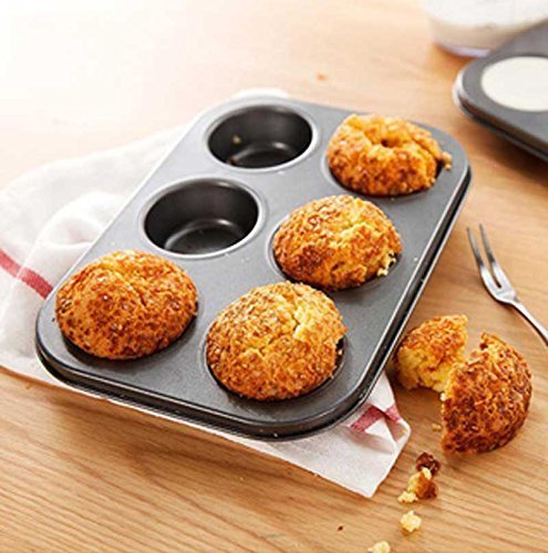 Kurtzy Carbon Steel 6 Cups Non Stick Baking Pan Bakeware Moulds For Muffins Cupcake Desserts Pastries Tarts Pie-Dishwasher Safe