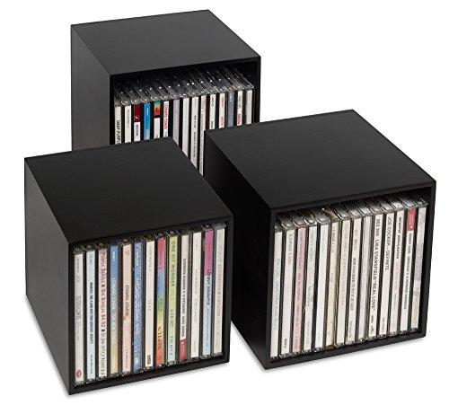 cubix CD-Box schwarz, CD-Aufbewahrungs-Boxen aus Holz, Set mit 3 Boxen. Zur Aufbewahrung von bis zu 40 CDs. Dekoratives, ansprechendes Design.