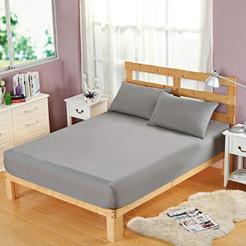 HPPSLT Protector de colchón, algodón, poliéster, Sábana cepillada Color sólido Antideslizante Puro Gris_150 * 200cm