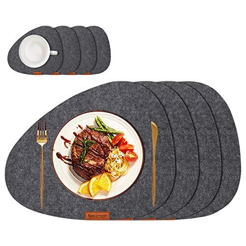 Nesirooh Platzset Filz 8er Set, rutschfest Hitzebeständig Waschbar Tischsets und Untersetzer für Dinnerpartys zu Hause