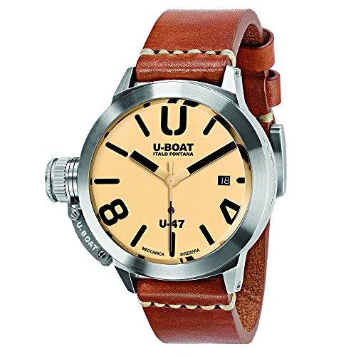 U-Boat Herren Datum klassisch Automatik Uhr mit Leder Armband 8106