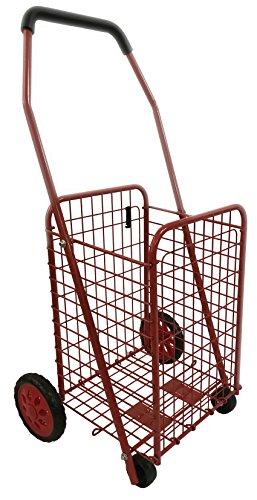 Bo Time Chariot de Courses en Métal 4 Roues - Pliable - Capacité 43l - Rouge - Couleuretnombrederoues : Rouge - 4 Roues sans Sac