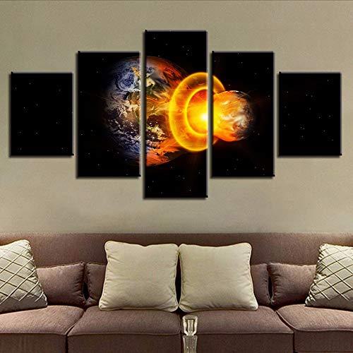Cczxfcc Impression Mur Art Affiche 5 Pièces Mars Frappe La Terre Abstrait Paysage Toile Photos Modulaire Salon Décor Cadre Peintures-10X15/20/25Cm-Frame