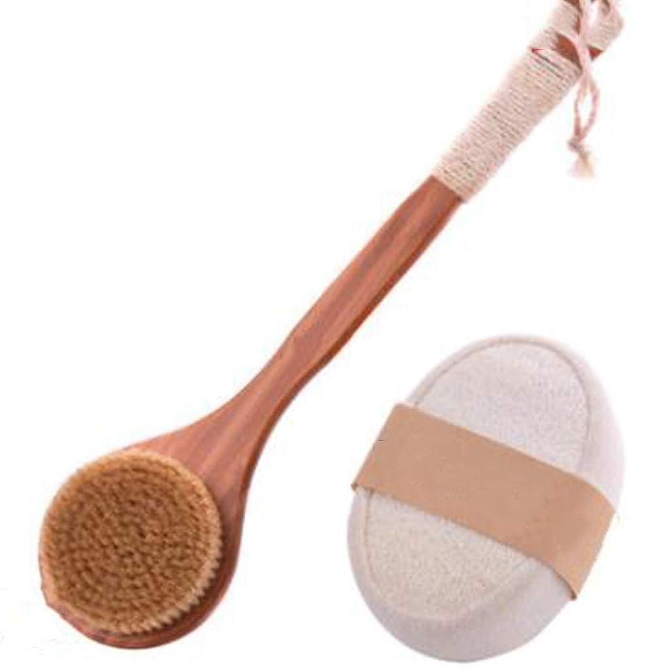 測定可能操る反毒滑り止めロング木製ハンドル+タオルひょうたんスポンジバスブラシ付きドライバスボディブラシバックスクラバー