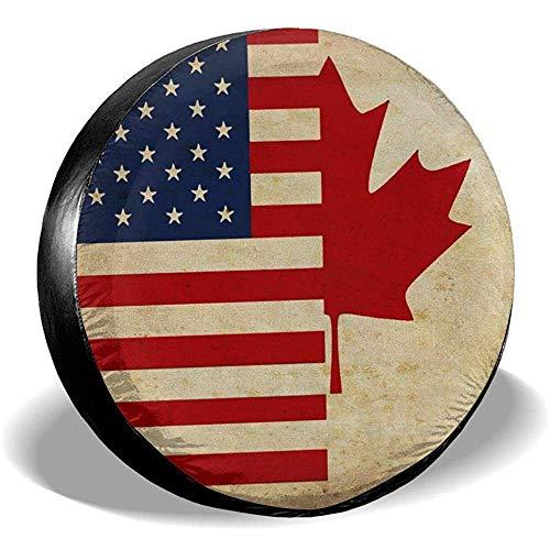 Wheel Tire Cover Amerikaanse en Canadese vlag van de verkoop fiets regenbescherming bandenafdekking diameter bandenafdekking zonwering voor voertuigen aanhangers verschillende SUV 16in/76~79cm 4 X 100 M