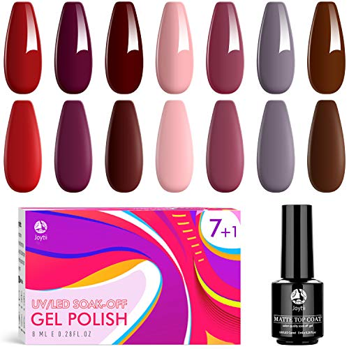 Gel Nail Polish - 7 Colors No Wipe Gel Polish Set with Matte Top Coat & UV/LED Soak Off Nail Polish Set for Nail DIY Salon at Home/Party (0.28Fl Oz)