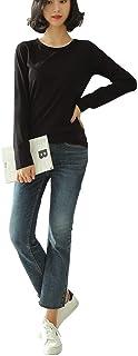 DAILY NJ【wt23】 秋冬 Tシャツ 裏起毛 ラウンドネック 長袖 暖かい 伸縮性 インナー カジュアル ヒットテック 肌触り抜群 無地 韓国ファッション