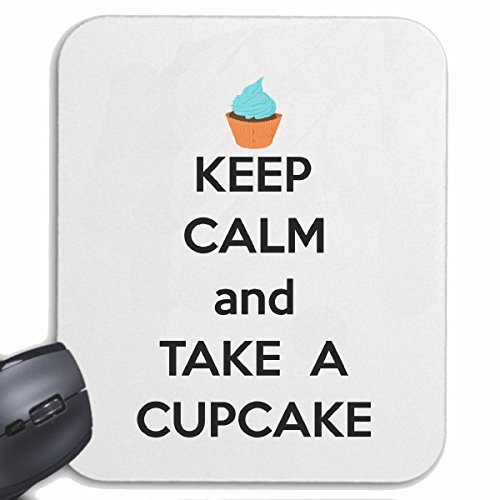 Reifen-Markt Mousepad (Mauspad) Keep Calm and TAKE A Cupcake Lifestyle Fashion Street WEAR Hiphop Legendary Salsa für ihren Laptop, Notebook oder Internet PC (mit Windows Linux usw.) in Weiß