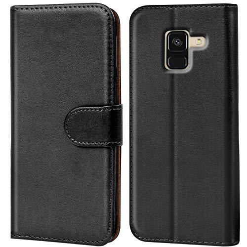 Verco Galaxy A8 (2018) Hülle, Handyhülle für Samsung Galaxy A8 Tasche PU Leder Flip Hülle Brieftasche - Schwarz