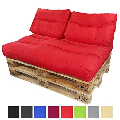 DILUMA Palettenkissen Lounge Rot 2X Rückenkissen 60x40 cm - Wasserabweisende Palettenauflage für Europaletten Formstabil mit Wave-Steppung