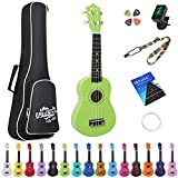 Amdini 21インチソプラノウクレレバスウッドアコースティックミニギター ケースストラップ付きチューナーピック文字列基本チュートリアル 初心者子供向け