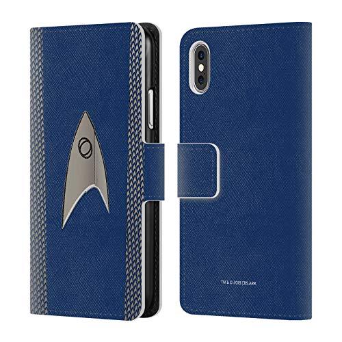 Officiële Star Trek Discovery Wetenschap Uniformen Lederen Book Portemonnee Cover Compatibel voor Apple iPhone X/iPhone XS