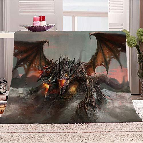 xczxc Manta de Franela Dragón de Fuego 3D Impreso de Microfibra Franela Mantas, Suave niños Adultos sofá Cama Manta Polar 180x200cm