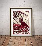 AZSTEEL Vintage Poster Malaysia Pangkor Rhinoceros Hornbill