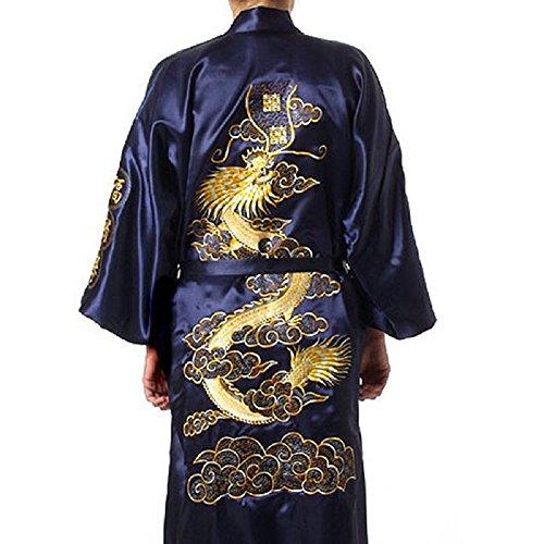 Oriental Clothing Bademantel, Kimono, Drachenstickerei, Yukata, Hakma, Vintage-Stil, Blau Gr. XL, blau
