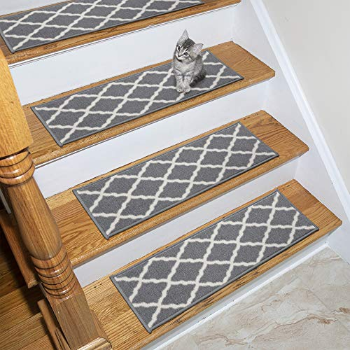 Ottomanson Glamour Stair Tread, 14 Pack, Grey Trellis, 14