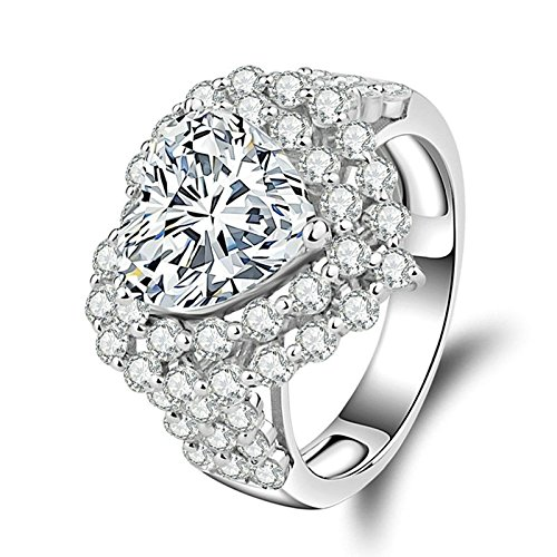 Adokiss Ring 925 Silber, Verlobungsring Damen Eheringe Vintage Herz Ring Rund Weiß Zirkonia, Gr. 65 (20.7), Geburtstagsgeschenk Beste Freundin