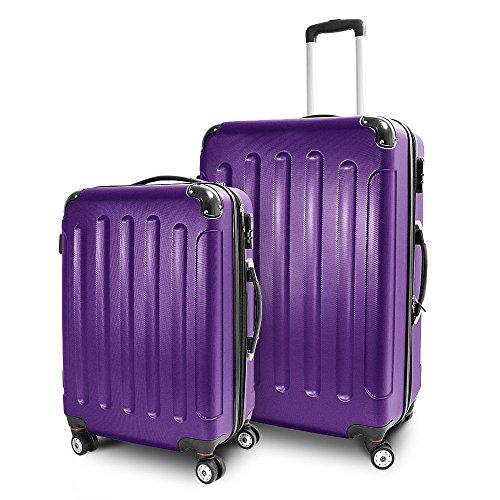BERWIN® Kofferset L + XL 2-teilig Reisekoffer Trolley Hartschalenkoffer ABS Teleskopgriff Modell Stripes (Lila)