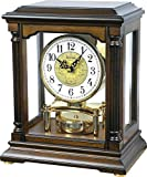 RHYTHM Wooden Table Clocks (3 Chimes - Hourly Westminster & Striking/Hourly Ave Maria & Striking/BIM Bam), Rotating Pendulum, Volume Control Switch, Auto Night Shut-Off