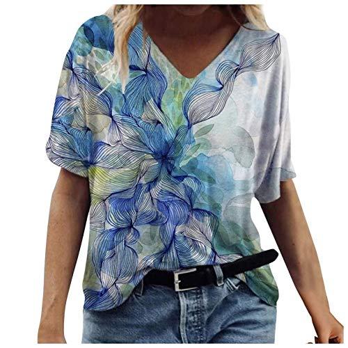 Camisetas de Mujer con Estampado Vintage Blusas de Manga Corta de Verano Camiseta con Cuello en V Camisa Holgada de Gran tamaño Retro Estampado de Flores (Color : Blue, Size : XXL)
