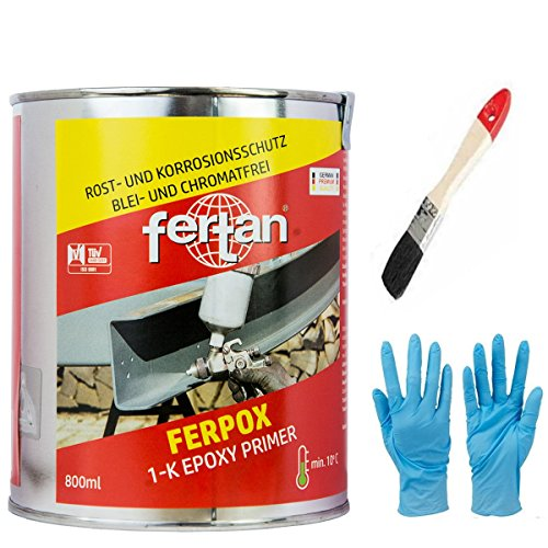 Fertan FERPOX 1-Komponent Epoxy Primer Der perfekte Rostschutz inkl. Pinsel von E-Com24 (Ferpox 1-K 800 ml)