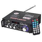 ESYNiC 300 W + 300 W Mini Amplificatore Audio Stereo Bluetooth con Telecomando HiFi Amplifier Audio Digitale Portatile per Auto Casa Hi-Fi Musica SD USB FM 12V / 220V
