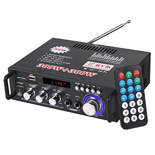 eSynic 300W+300W Amplificador de Audio Estéreo Bluetooth con Control Remoto Amplificador de Audio Digital Portátil de Alta Fidelidad para el Hogar del Automóvil Música SD USB FM 12V / 220V